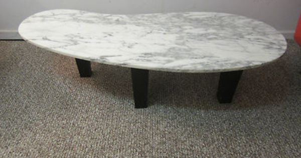 Mid Century Danish Modern Kidney Shaped Marble Coffee Table Nice Ebay