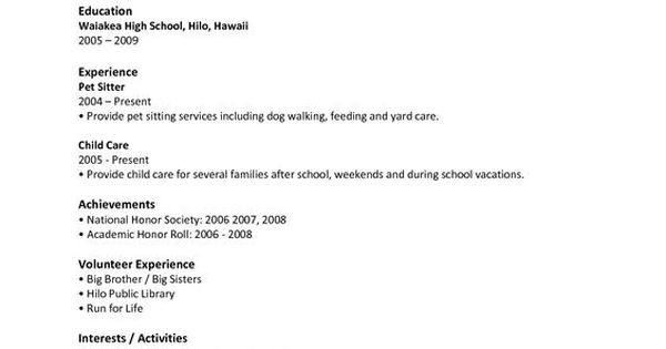 High School Student Resume Samples With No Work Experience - Google Search: