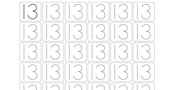 Number Tracing Worksheet 13 Homeschooling Number