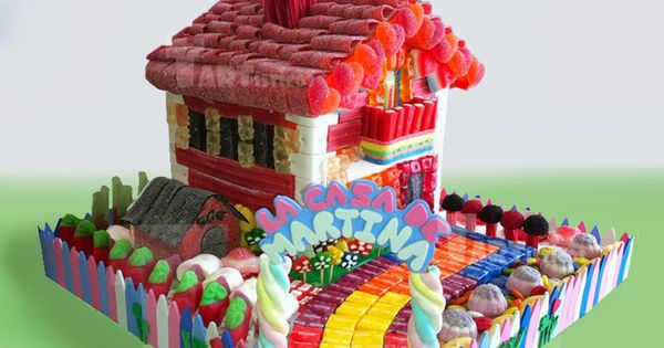 Casita con jard n de gominolas tartas de gominolas de dise o pinterest candy cakes bonbon for Casa jardin buffet