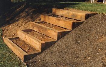 Building Timber Landscape Steps Set Of Stacked Timber Steps
