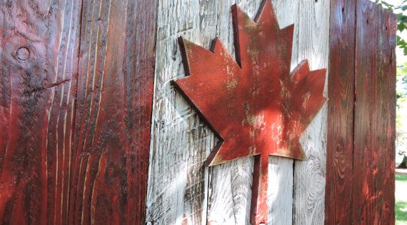 3d Canadian Flag Canada Flag Maple Leaf Rustic Distressed Weathered Reclaimed Wood Home