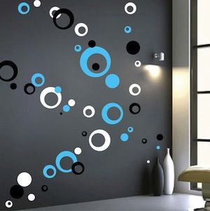 Contemporary Rings Dots Wall Decals Trendy Wall Designs Diy Wall Painting Wall Paint Designs Wall Design