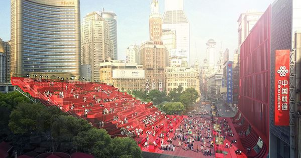 Red carpet by 100architects glides through shanghai china for Red landscape architects