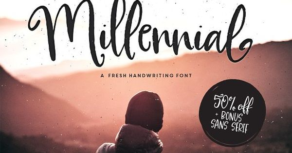 Millennial Script! A flirty, timeless handwriting font with a quick stroke and a dancing baseline
