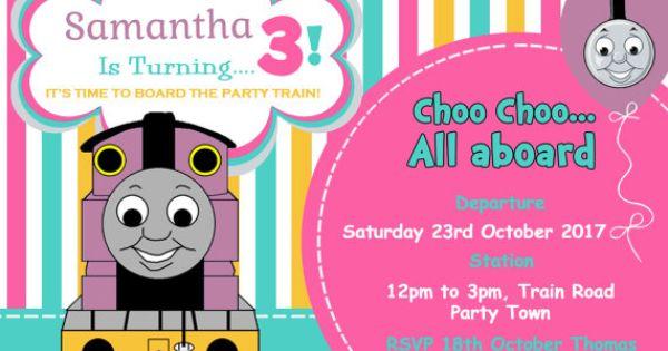 personalised personalized girls thomas the tank engine inspired train birthday invitation invite