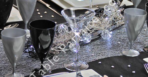 D coration de table pr te poser noir profond et argent - Chemin de table lumineux ...
