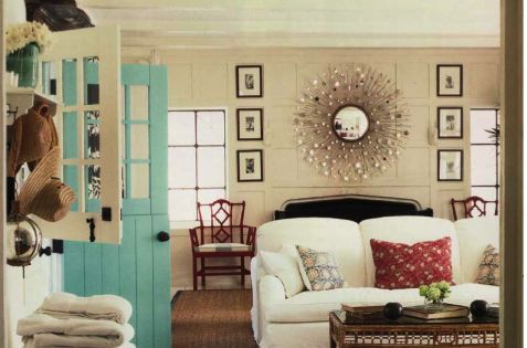Love the door! something about pale white doors and furniture and a