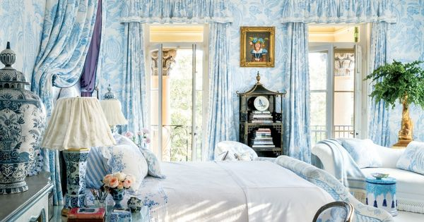 Blue Toile Decorating Ideas: French Toile Blue Wallpaper Curtains Bed Decorating