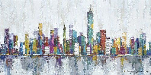 New York City Skyline Cityscape Architecture Abstract Wall Art Oil Painting On Canvas Decoration Oil Painting Abstract Abstract City Art Painting Oil