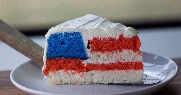 Hidden American Flag Cake