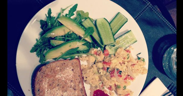 Brunch: Scrambled eggs with tomato, green onion and asiago. Arugula ...