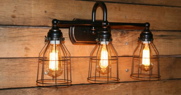 Vanity Light Wall Sconce 3 Bronze Wire Cage Bathroom