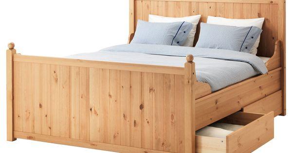 IKEA - HURDAL, Struttura letto con 4 cassetti, Luröy, 160x200 cm, , Le venature e i nodi del ...