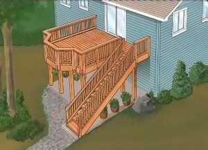 Split Level Deck Plans Woodprojects Com Deck Building Plans Deck Design Deck Layout
