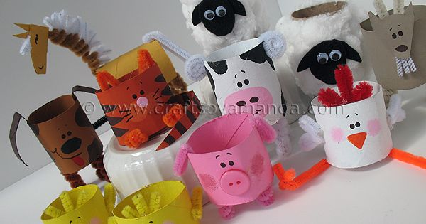 Cardboard Tube Farm Animals: really cute ideas for a simple crafts using