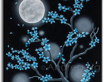 Blue Cherry Blossom Painting Surreal Art Gothic Painting Moon Night Landscape Black Wall Art Ser Cherry Blossom Painting Dark Paintings Simple Canvas Paintings