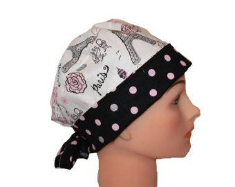 Surgical Scrub Cap Chemo Hat With Tie Back Flirty Front Fold