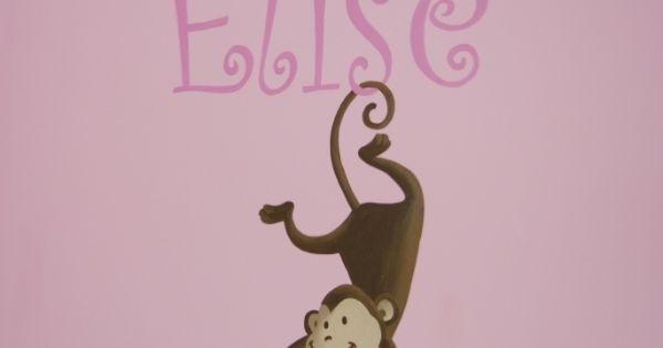 Muurschildering aapje dat met staart aan de naam hangt muurtekening pinterest - Ontwerp muurschildering ...