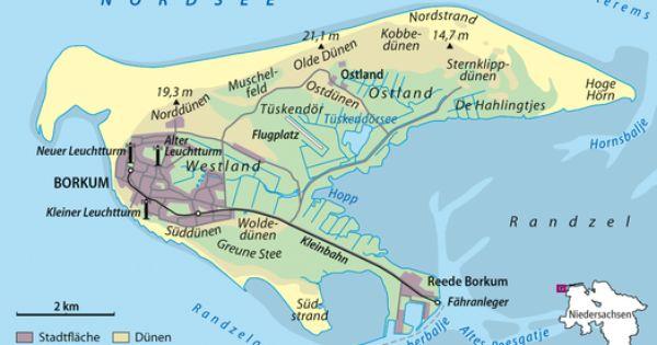 Overzichtskaart Van Het Eiland Borkum Borkum Insel Borkum