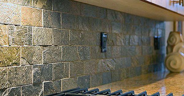 Satin Copper Slate : Shiny rough surface subway slate backsplash tile idea
