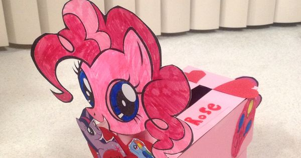 my little pony valentine box  made from paper towel rolls