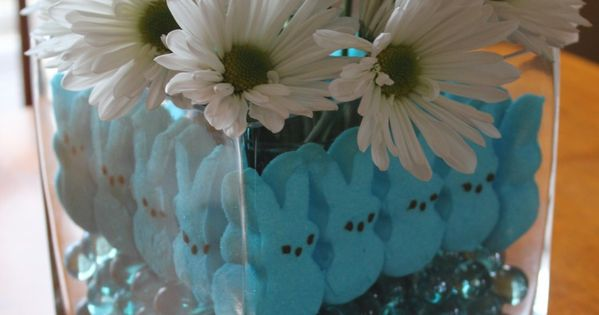 Marshmallow Peeps Craft: Easter Centerpiece marshmallow peep craft diy centerpiece flower