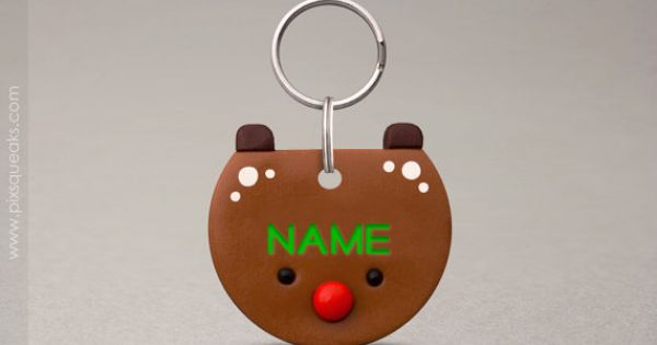 Reindeer Pet ID Tag - Pet Name Tag, For Cats Dogs, Christmas Pet ...