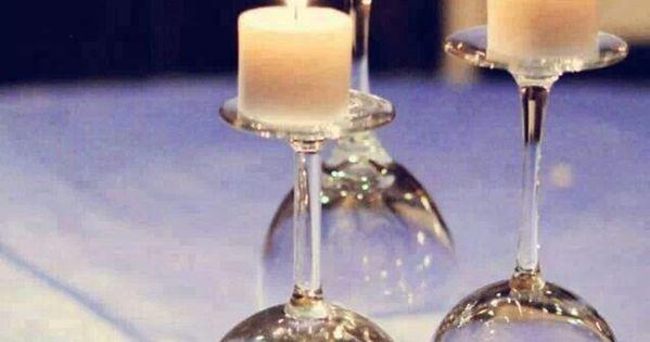 mariage pas cher, verre de vin à linverse, centre de table  Mariage ...