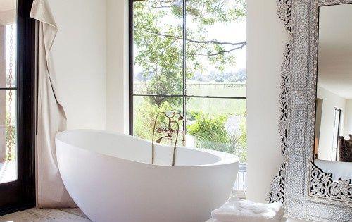 dream house interior, bathroom design, huge bath, silver mirror
