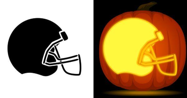 Football helmet pumpkin carving stencil free pdf pattern