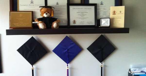 Hang Grad Hats Underneath All Earned Awards, Diplomas And