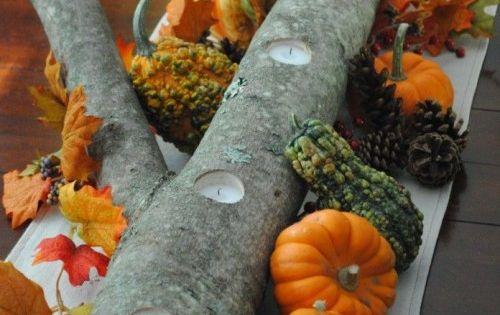 log candle holder Autumn Centerpiece -