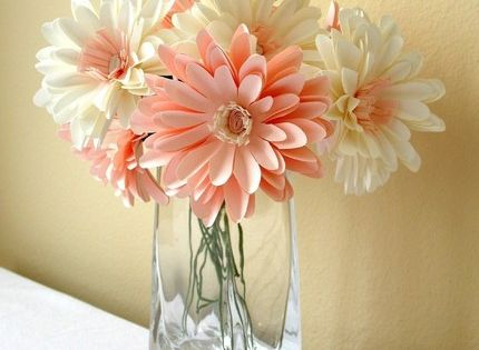Paper Flower Kit 12 Light Pink and White mums