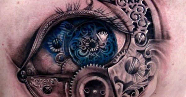 Steampunk blue eye shoulder tattoo