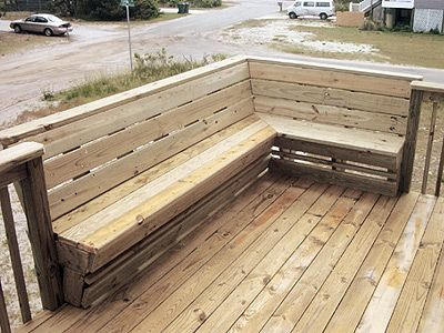 Wrap Bench deck bench  but wrap around 3 sides and put a table in the