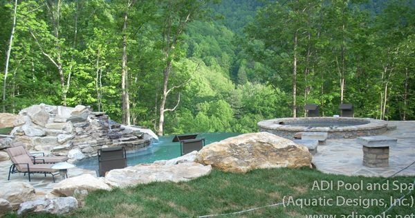 Vanishing Edge Pool With Waterfalls Slide Sunshelf And Spa In Franklin North Carolina