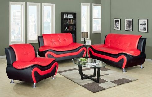 Chicoine 3 Piece Living Room Set Three Different Set Of Color Black Red On Black White An Leather Sofa Living Room Living Room Sets Modern Sofa Living Room