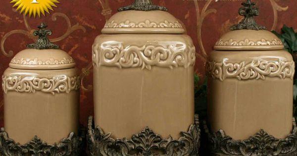 Drake design taupe large kitchen canister set of 3 top for Drake designs kitchen