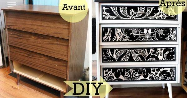 Avant apr s transformer un meuble en m lamine avec du papier peint meubles mobilier - Relooker un meuble en melamine ...