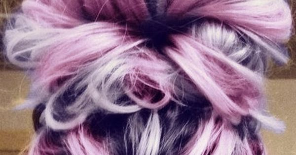 Messy bun hairstyle. 2 elastics. 1 at the scalp - high pony second at the end of the hair. Join the ends into the center of the first and pin.