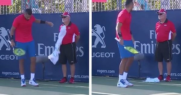 Nick Kyrgios Accidentally Throws His Sweaty Towel At A Line Judge Line Towel Running