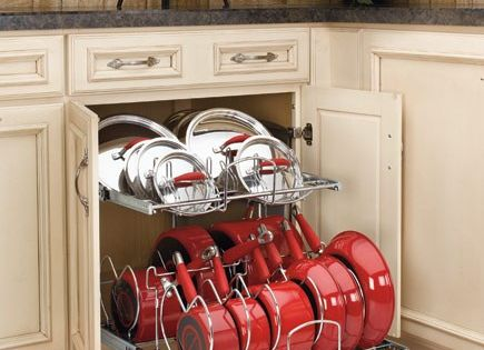 Pots & Pans storage solutions .....Lowes and Home Depot sell this.