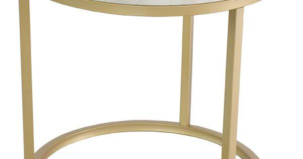 Accent soffbord marmor runt, Ø50, vit/mässing | Vardagsrum | Pinterest