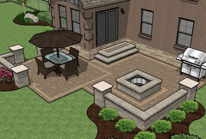 3d Paver Patio And Landscaping Design Using Realtime Landscaping
