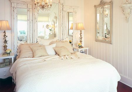 shabby chic bedroom love the vintage mirror headboard