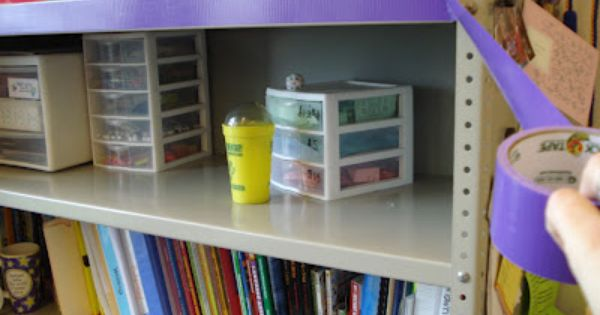 Classroom Design And Organization : Use decorative duct tape to quot border unsightly shelves