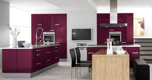 Eggplant purple kitchen cabinets stainless steel modern for Aubergine kitchen cabinets