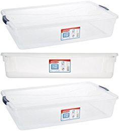 Long Plastic Bins Homz Plastic Underbed Storage Stackable