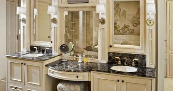 Double Vanity~Remodel, Center Seating With Kim Z Vanity Chair And Build Out Around Contract
